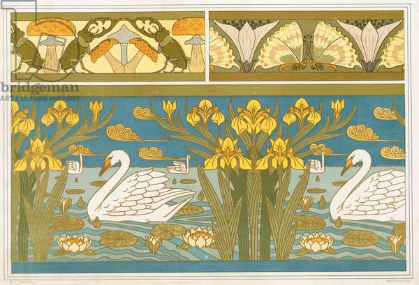 Designs for wallpaper border with Stag Beetles and Mushrooms, andWood Sorrel flower with Butterflies, and an Enamel Panel with Swans, Iris and Waterlillies,  from 'L'Animal dans la Decoration' by Maurice Pillard Verneuil,  pub. 1897 (colour lithograph)