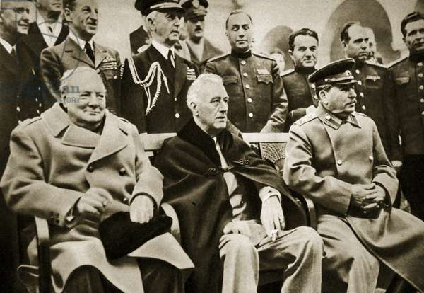The 'Big Three' at the Yalta Conference. Prime Minister Churchill, President Roosevelt, and Generalissimus Stalin, February 1945 (b/w photo)
