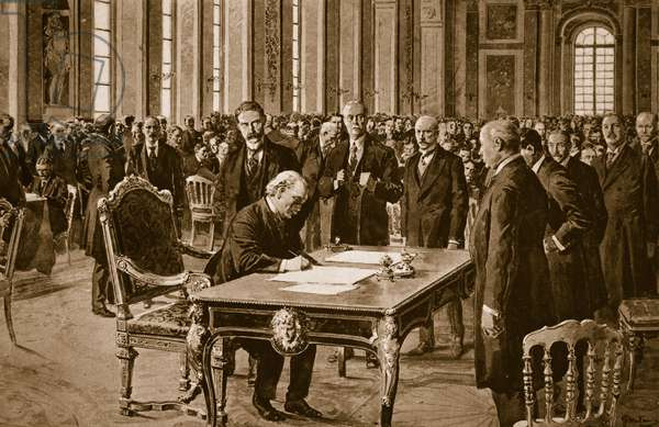 Britain's Prime Minister signing the Treaty of Peace with Germany in the Hall of Mirrors at Versailles, June 28th 1919 (sepia print)