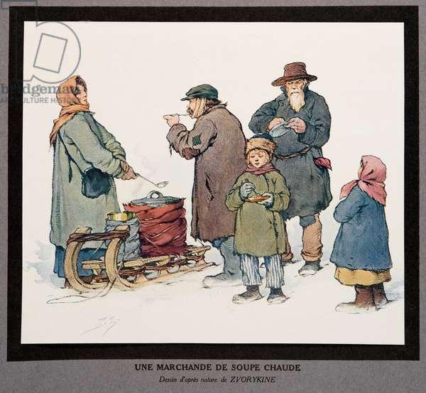 A Hot Soup Seller, from Histoire des Soviets, pub. 1922 (colour litho)