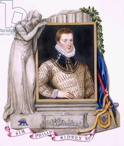 Portrait of Sir Philip Sidney (1554-86) from 'Memoirs of the Court of Queen Elizabeth', published in 1825 (w/c and gouache on paper)