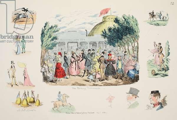 The Morning Promenade, pub. 1833 (hand coloured engraving)