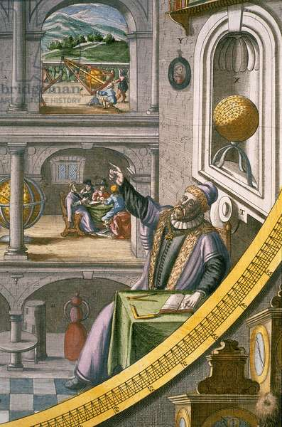 Tycho Brahe (1546-1601) aged 40, amongst his astronomical instruments, from the 'Atlas Major' c.1630 (coloured engraving) (see also 762147)