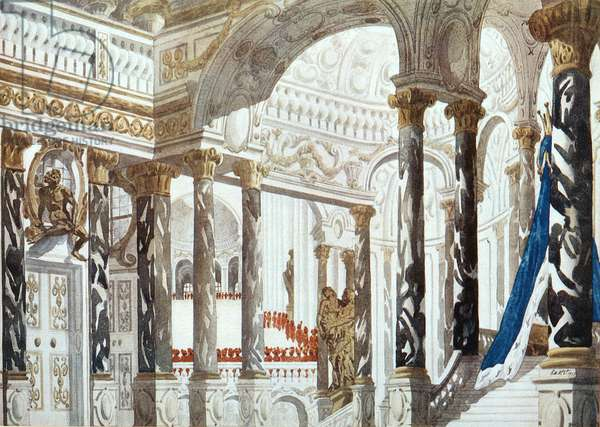 Scenery design for The Baptism, from Sleeping Beauty, 1921 (colour litho)