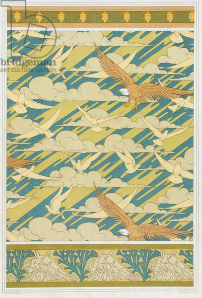 """Designs for wallpaper border """"Squash Bug"""",  Wallpaper with Eagles and Pigeons; and wallpaper border with shells and seaweed,   from 'L'Animal dans la Decoration' by Maurice Pillard Verneuil; pub. 1897 (colour lithograph)"""
