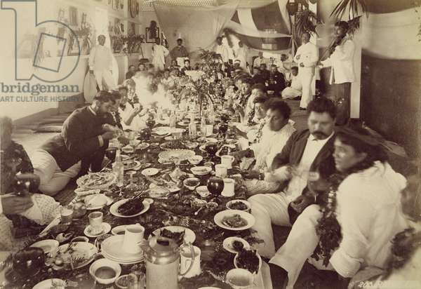 Royal Banquet at King Kalakana's Boat House, c.1875 (sepia photo)