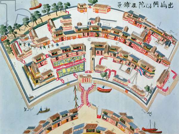 Plan of the Dutch Factory in the Island of Desima at Nangasaki, from 'Illustrations of Japan' by Isaac Titsingh (c.1740-1812), published London, 1822 (colour litho)