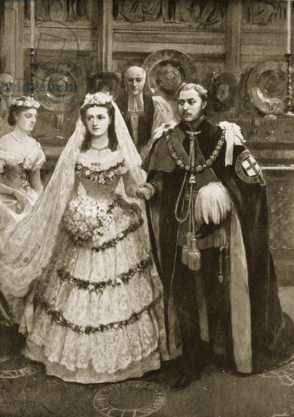 The Marriage of the Prince of Wales with Princess Alexandra of Denmark in St. George's Chapel, Windsor, March 10th 1863, from 'The Illustrated London News', 1901 (litho)