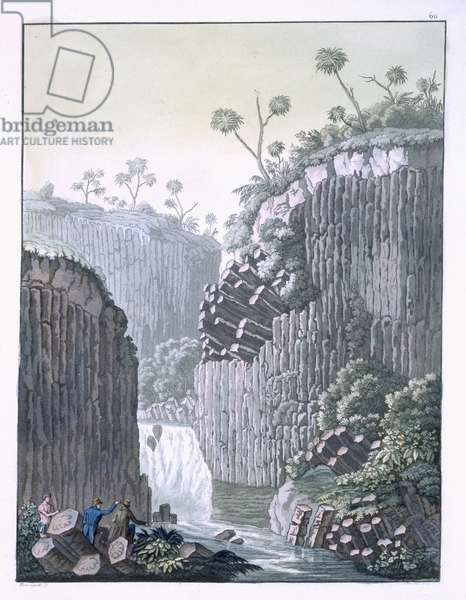 Explorers with Humboldt's Expedition in the Basalt Cliffs at Regla, Mexico, plate 60 from 'Le Costume Ancien et Moderne' by Jules Ferrario, published c.1820s-30s (colour litho)