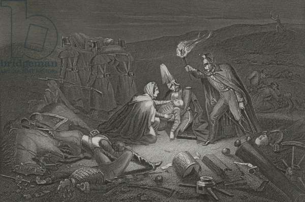 The Battle Field of the Alma, the Night after the Battle, engraved by D.J. Pound (engraving)