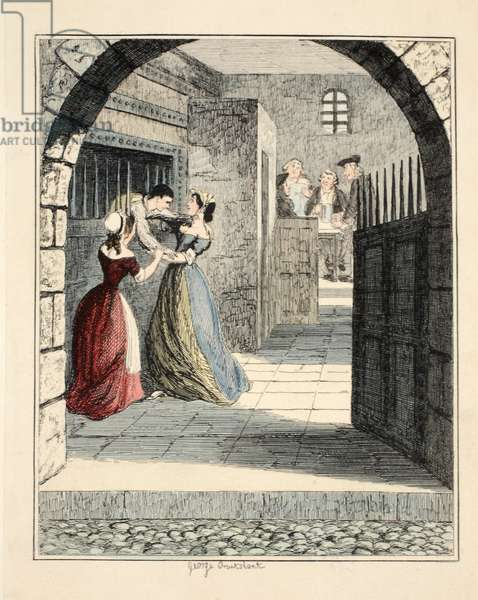 Jack Sheppard escaping from the condemned hold in Newgate, illustration from 'Jack Sheppard: A Romance' by William Harrison Ainsworth, pub. 1839 (hand coloured engraving)