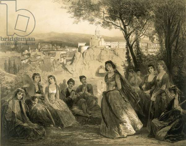 Garden near Tiflis, Georgia, plate 27 from a book on the Caucasus, published by Alfred Leon Lemercier, Paris, 1847 (litho)