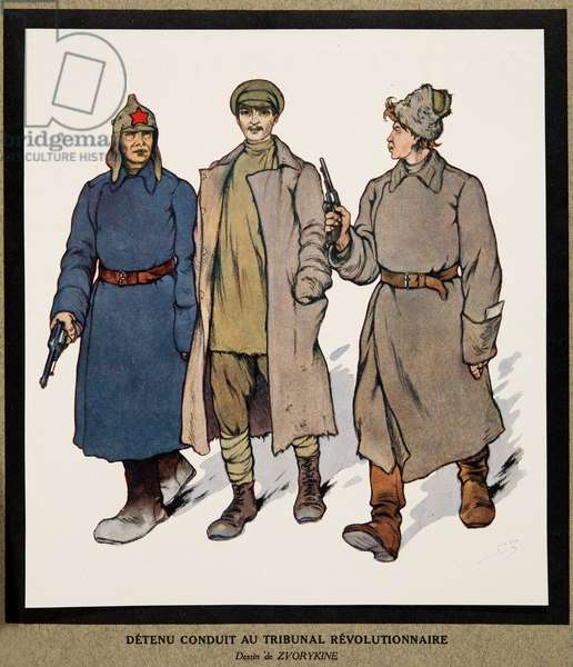 Detainee being taken to a Revolutionary Tribunal; from Histoire des Soviets, pub. 1922 (colour litho)