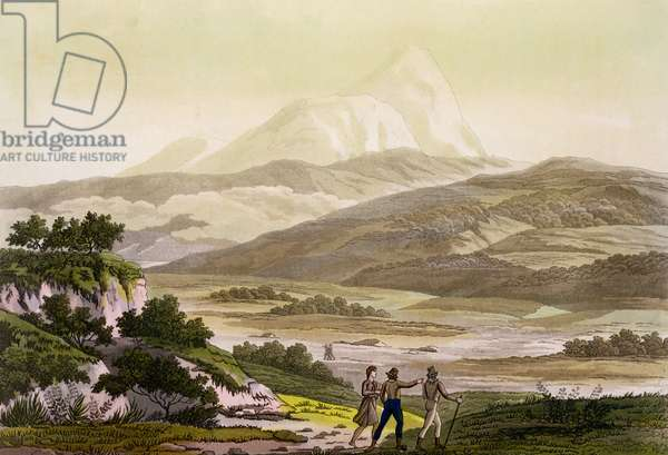 Mount Cayambe, Ecuador, from 'Le Costume Ancien et Moderne', Volume II, plate 3, by Jules Ferrario, engraved by Paolo Fumagalli, published c.1820s-30s (colour litho)