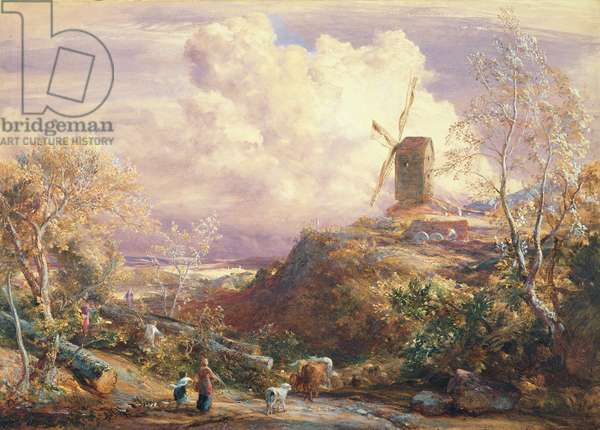 Windmill on a Hill with Cattle Drovers (w/c on paper)
