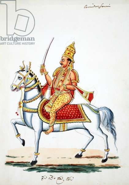 Lord Kalki on his horse Devadatta with sword in hand (w/c on paper)