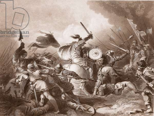 The Battle of Hastings, engraved by A.H. Payne (litho)