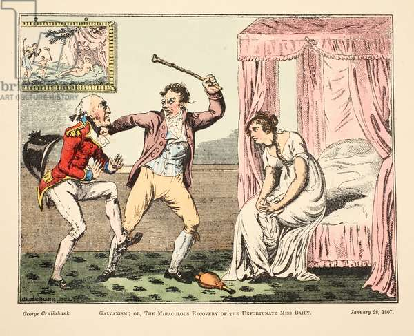 Galvanism; or the Miraculous Recovery of the Unfortnate Miss Baily, pub. 1807 (hand coloured engraving)