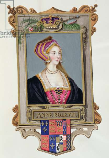 Portrait of Anne Boleyn (1507-36) 2nd Queen of Henry VIII, as a Young Woman from 'Memoirs of the Court of Queen Elizabeth', published in 1825 (w/c and gouache on paper)