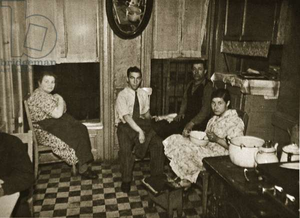 Residents of a Henry Street Tenement on the Lower East Side, Manhattan (sepia photo)