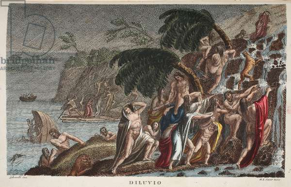 The Flood or Diluvio, Book I, illustration from Ovid's Metamorphoses, Florence, 1832 (hand-coloured engraving)