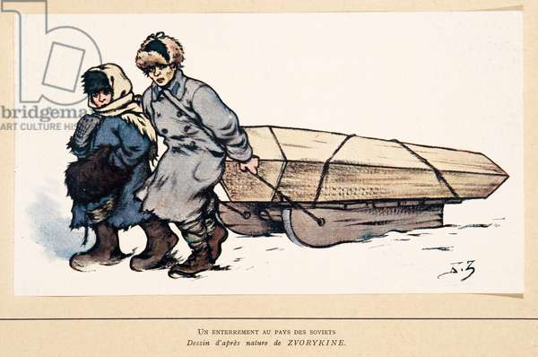 A burial in Russia, from Histoire des Soviets, pub. 1922 (colour litho)