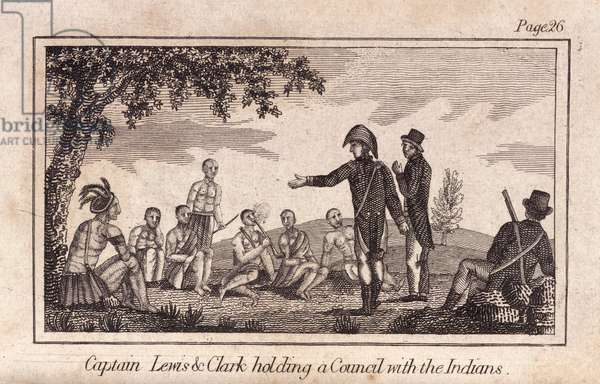Captain Lewis & Clarke holding a Council with the Indians, pub. 1812 (engraving)