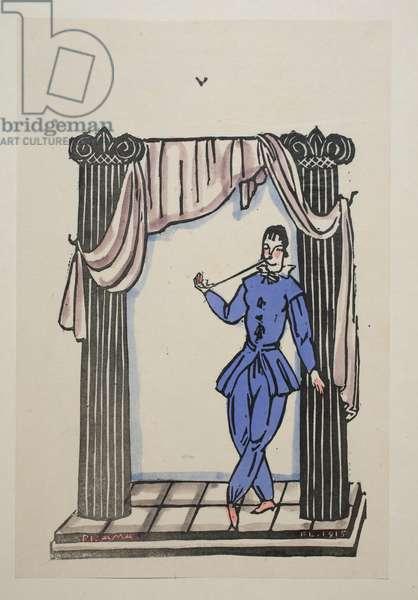 Pyjama, Plate 5, Book 11, illustration from 'Wiener Werkstatte Mode 1914/15', pub. Eduard Kosmack, Vienna, 1914-1915 (hand-coloured linocut)