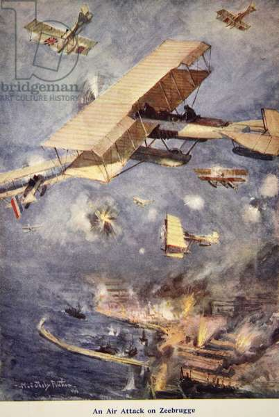 'An Air Raid on Zeebrugge', illustration from 'Told in the Huts: The YMCA Gift Book', published 1916 (colour litho)