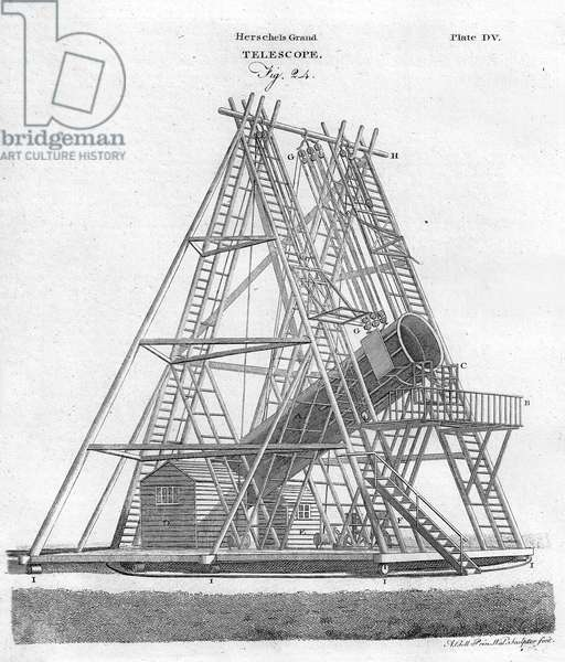Herschels Grand Telescope, (Fig. 24),  Plate 505 from Encyclopaedia Britannica , pub. 1797 (engraving)