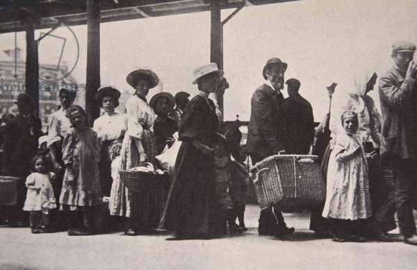 Arriving at Ellis Island, New York, c.1905 (b/w photo)