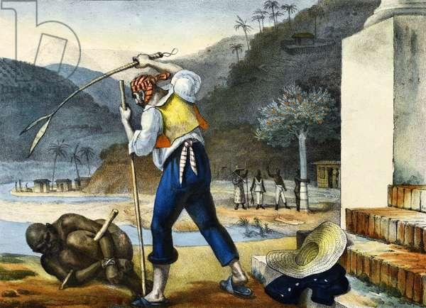 Punishment of Negroes, illustration from 'Voyage Pittoresque et Historique au Bresil', 1835 (colour litho)