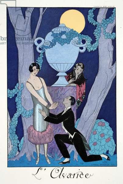 Avarice, from 'Falbalas & Fanfreluches, Almanach des Modes Présentes, Passées et Futures', 1925 (colour litho)
