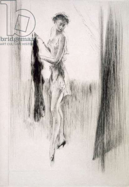 A woman dressing in front of a mirror, illustration for 'Mitsou' by Sidonie-Gabrielle Colette (1873-1954) published 1930 (etching & drypoint)