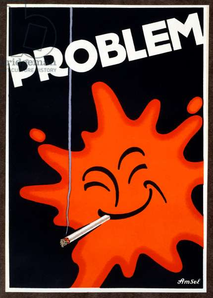 Advertisement for 'Problem Cigarettes' printed in Berlin, 1927 (colour litho)