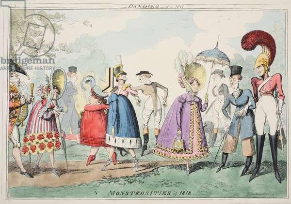 Dandies of 1817 and Monstrosities of 1818, pub. 1835 (hand coloured aquatint)