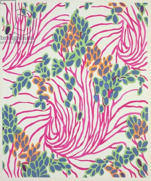 Floral design motif from 'Floreal: Dessins & Coloris Nouveaux', c.1920 (pochoir print)