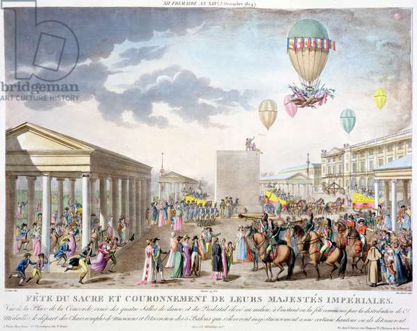 Sacred Festival and Coronation of their Imperial Majesties, View of the Place de la Concorde, Paris, engraved by Marchand, published 1806 (hand tinted engraving)