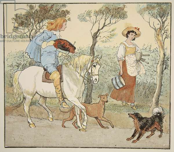 """""""Where are you going, my Pretty Maid?"""", illustration from The Milkmaid, pub. by Frederick Warne & Co. (coloured engraving)"""