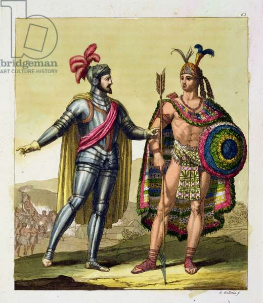 The Encounter between Hernando Cortes (1485-1547) and Montezuma II (1466-1520), from 'Le Costume Ancien et Moderne', Volume I, plate 63, by Jules Ferrario, published c.1820s-30s (colour engraving)