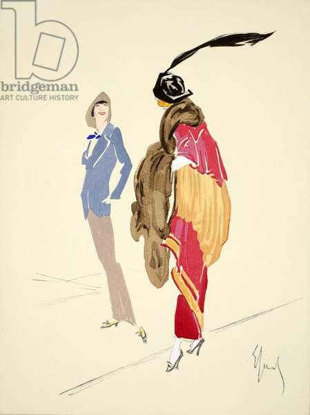 Design for day dress, 1912, plate 9, illustration from 'Robes et Femmes', pub. Dorbon-Ainé, Paris, 1913 (pochoir print)