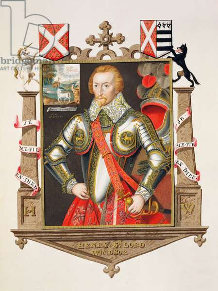 Portrait of Henry, 5th Lord Windsor (1562-1615) from 'Memoirs of the Court of Queen Elizabeth', published in 1825 (w/c and gouache on paper)