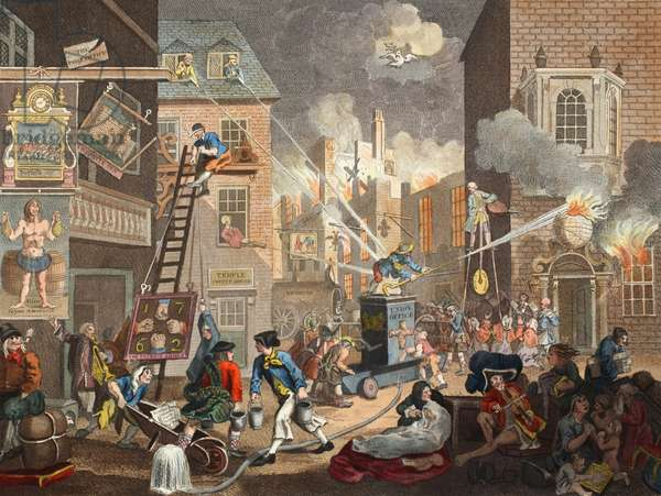 The Times, Plate I, illustration from 'Hogarth Restored: The Whole Works of the celebrated William Hogarth, re-engraved by Thomas Cook', pub. 1812 (hand-coloured engraving)