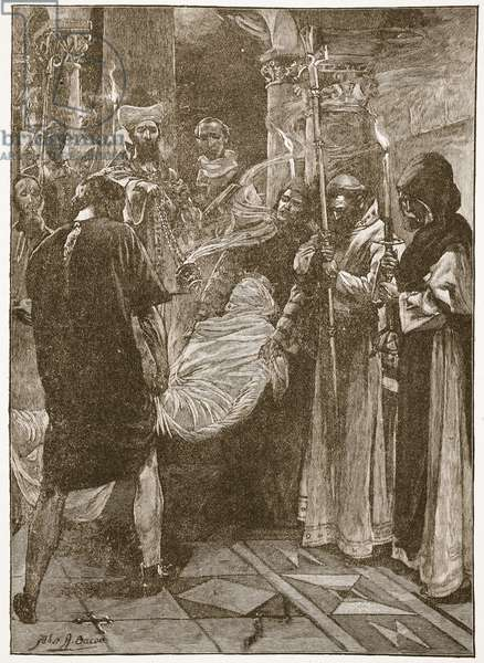 The Burial of King Ethelbert of Kent, illustration from 'The Church of England: A History for the People' by H.D.M. Spence-Jones, pub. c.1910 (litho) (sepia photo)