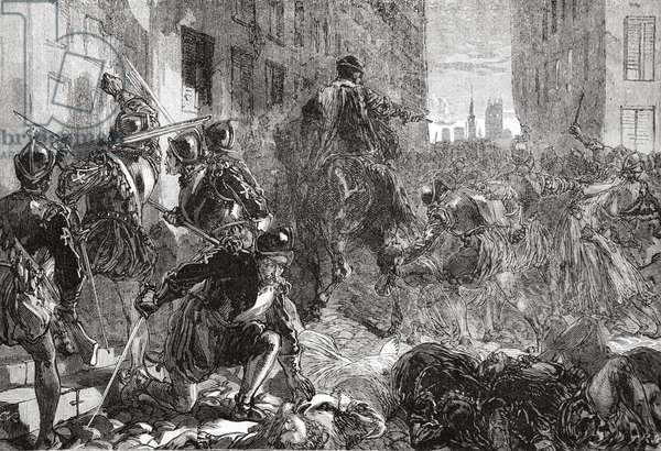 The Night of the Massacre of St. Bartholomew, illustration from 'The History of Protestantism' by James Aitken Wylie (1808-1890), pub. 1878 (engraving)