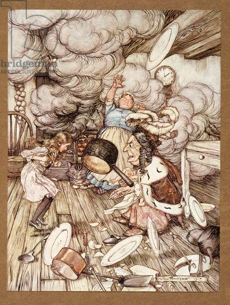 An unusually large saucepan flew close by it, and very nearly carried it off, from Alice's Adventures in Wonderland, by Lewis Carroll, pub.1907 (colour litho)
