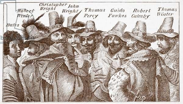 The Gunpowder Plot Conspirators, after a 1606 engraving (engraving)