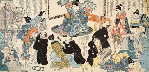 Scene from Genji monogatari (Tale of Genji) by Murasaki Shibuku (b. 978) c. 1860  (colour woodblock print)