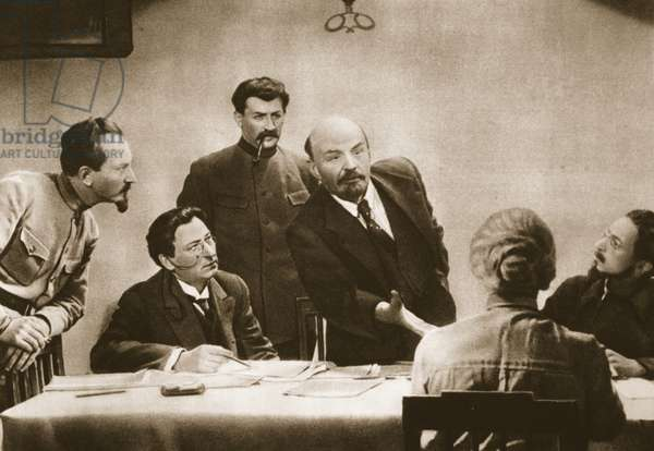 Still from the film Lenin in October with Shchukin in the role of Lenin (photogravure)