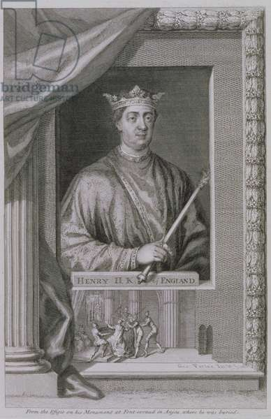Henry II (1133-89) King of England from 1154, from the effigy on his monument at Fontevrault in Anjou, engraved by the artist (engraving)